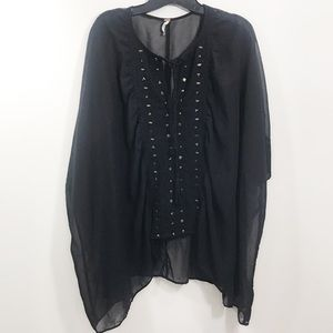 {Free People Sheer Black Chiffon Embroidered Tunic